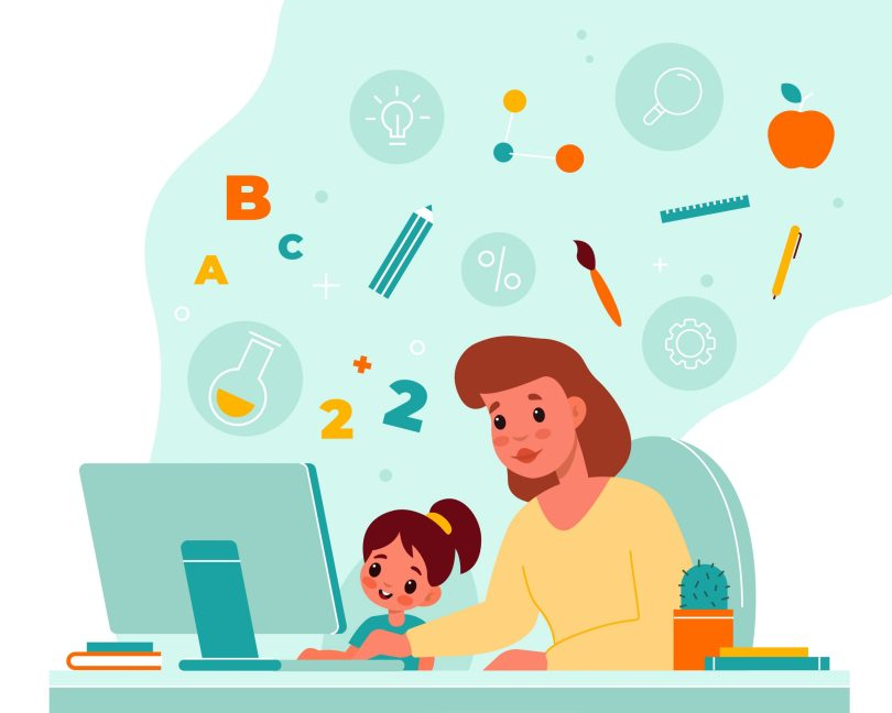 Online children education. Home child learning, mother helps daughter with completing homework, monitor and school symbols. Little pupil with teacher at computer table vector cartoon concept
