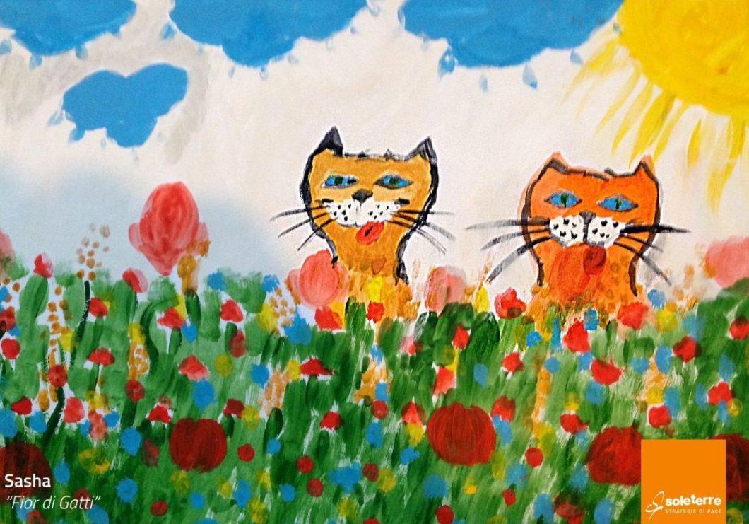 disegno di Sasha, gatti rossi in erba
