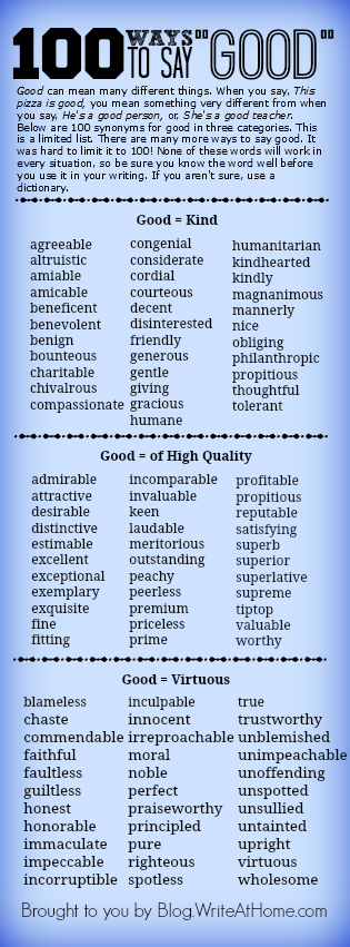 100 Ways to Say Good: Good can mean many different things. Good can mean kind. Good can mean high quality. Good can mean virtuous.