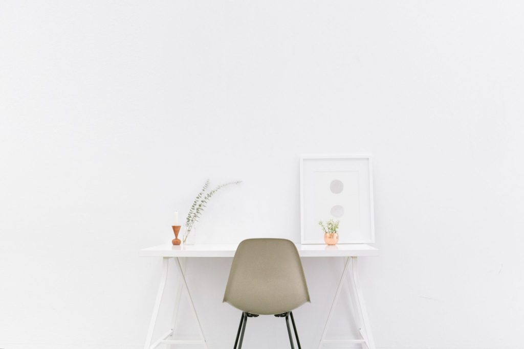 Make better decisions minimal desk white