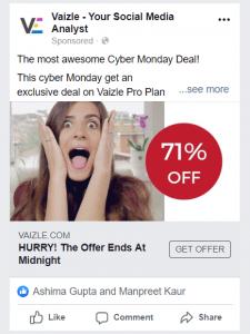 Vaizle Social Media Ad on Cyber Monday