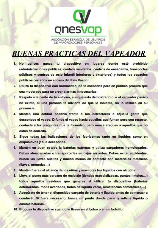Código de buenas prácticas del vapeador lanzada por ANESVAP