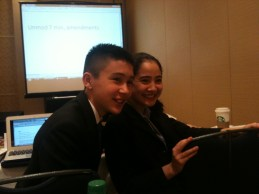 Sophie & another delegate (WHO committee session)