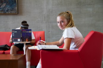 Doing homework in the east lounge