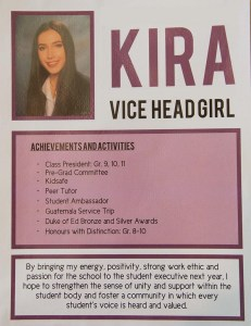 Candidate Poster: Kira - Vice Head Girl
