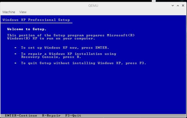 Installing Windows XP on QEMU raspberry pi 4 – Zivo NiX BLog