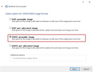 VHD/VHDXのオプションを指定する
