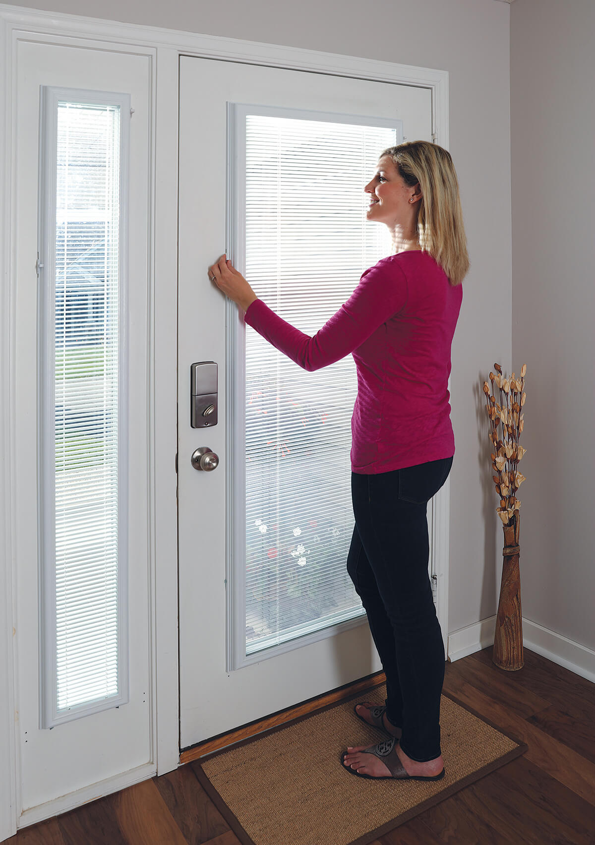 enclosed blinds to your front door