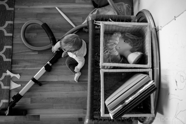 home life with toddler in black and white
