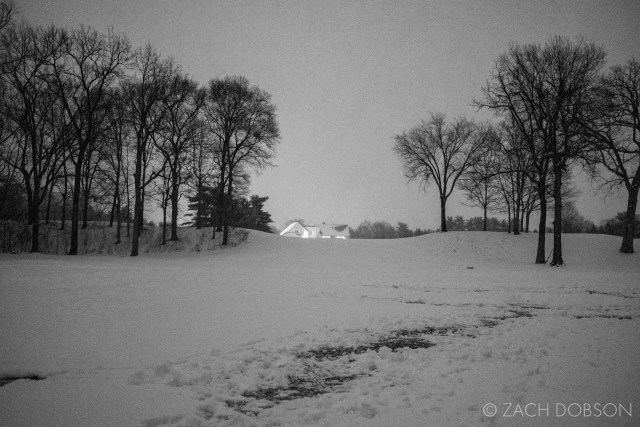 photos of night snow in Indiana golf course