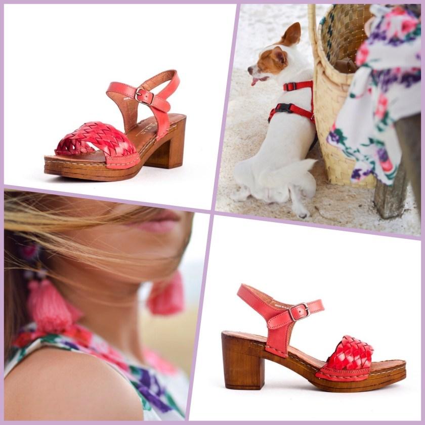 Sandalias Traveris 7122035 para mujer en color rojo.