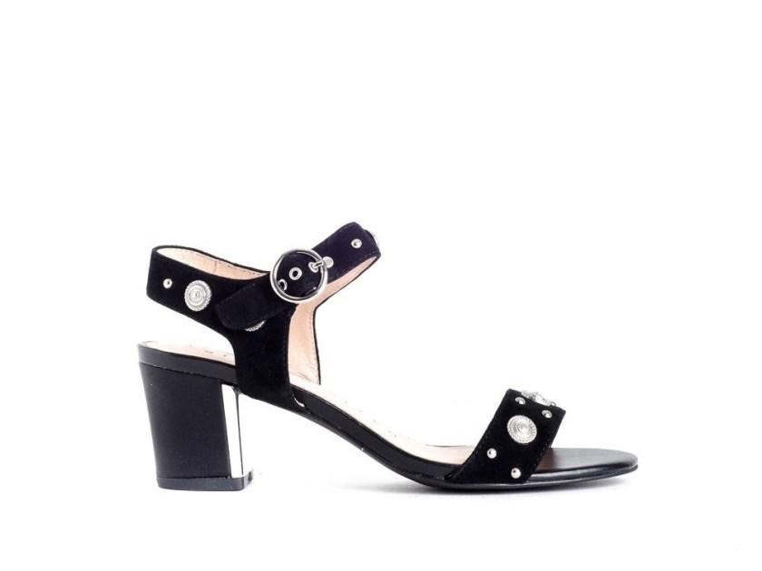 Sandalias de tacón negras y cómodas para salir: Stephen Allen K1969L-C1