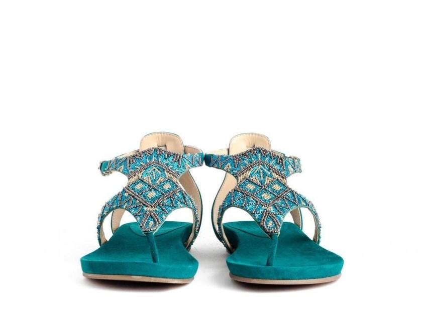 Sandalias planas con pedreía azules Riva Di Mare CH18-006