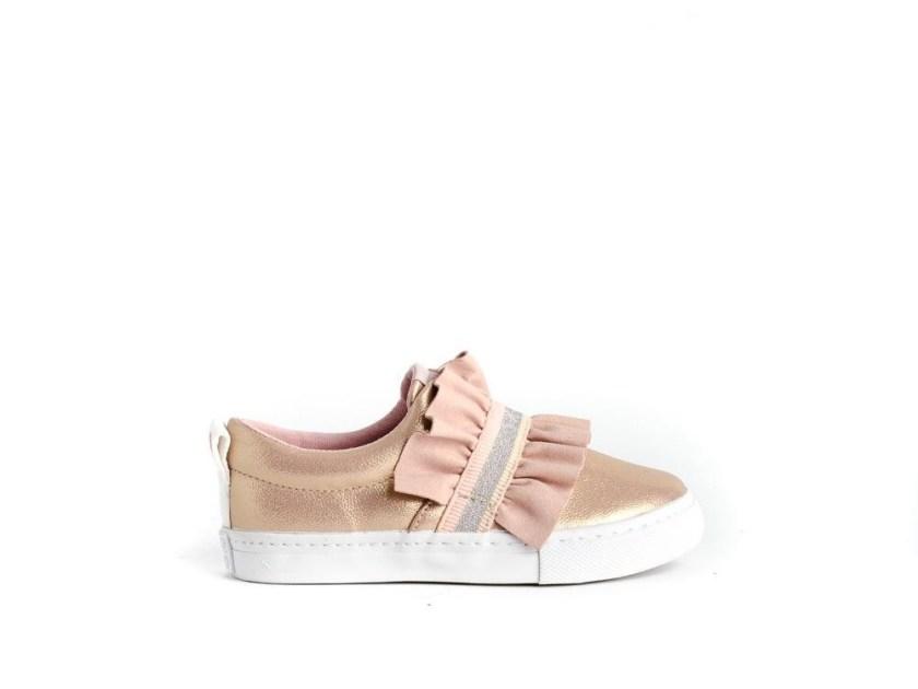 zapatillas oro rosa para niña