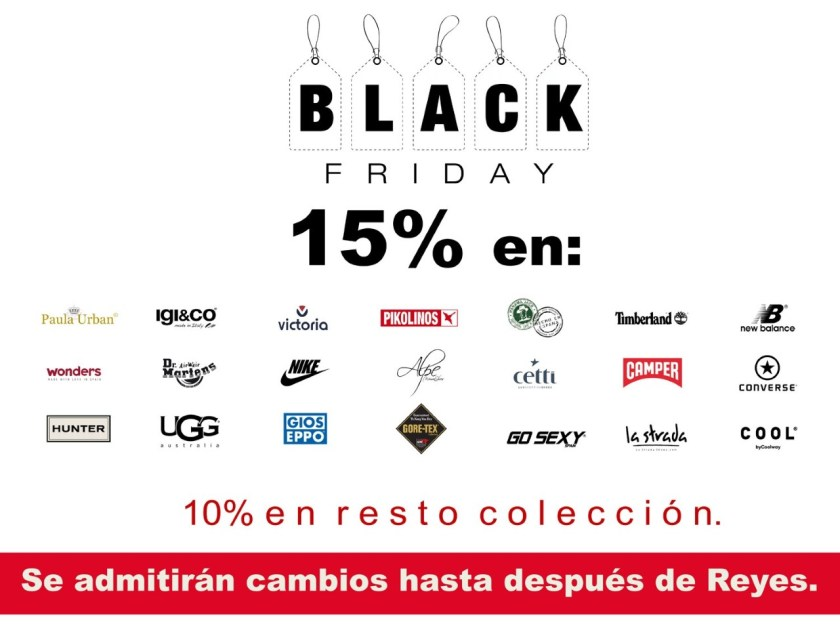 15% en marcas seleccionadas #BlackFriday 2018 en Zap-in!