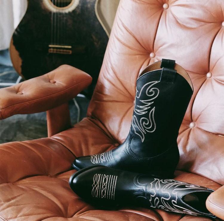Botas Cowboy Jandra en piel negra.