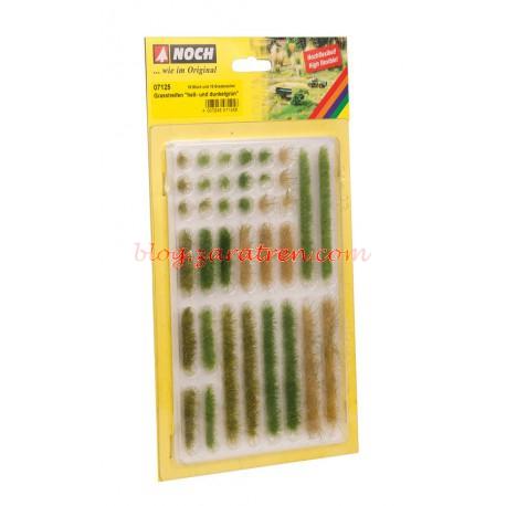 Noch - Tiras de hierba verano, verde claro y oscuro, dos colores, 36 piezas, 6 mm de altura, Ref: 07125.