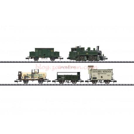 Marca Trix - Locomotora de Vapor BBII, con vagones de mercancias, K.Bay.Sts.B, Digital, época I, Escala N, Ref: 11632
