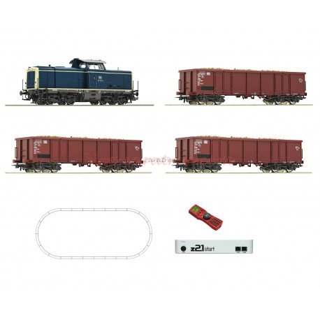 Roco - Set de iniciación Locomotora Diésel clase 211, DB, con tres vagones tipo XX, vías Geoline, Digital, con central Z21 y mando Roco, escala H, Ref: 51299.