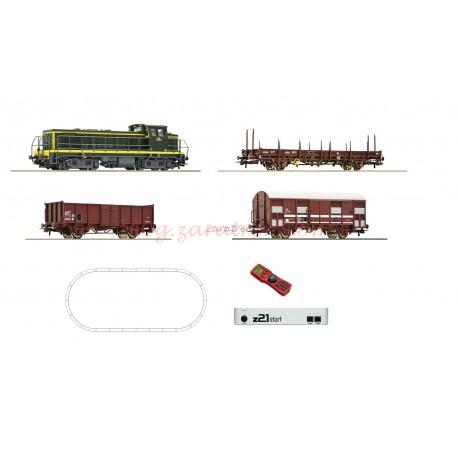 Roco - Set de iniciación Locomotora Diesel BB63000, RENFE, con tres vagones de mercancías, vías Geoline, Digital, con central Z21 y mando Roco , Ref: 51300.