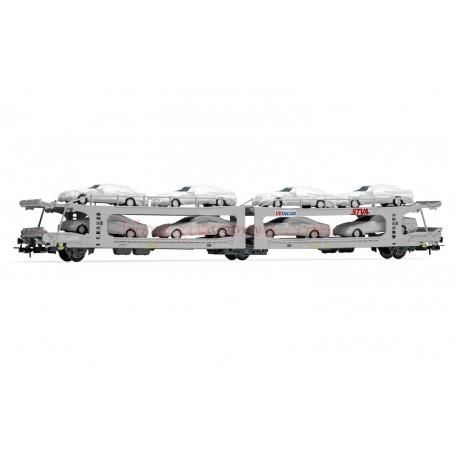 Electrotren - Vagón plataforma de dos pisos Renfe, STVA, para el transporte de automóviles, se incluyen vehículos, Tipo PMA, Epoca V-VI, Escala H0 , Ref: E6535