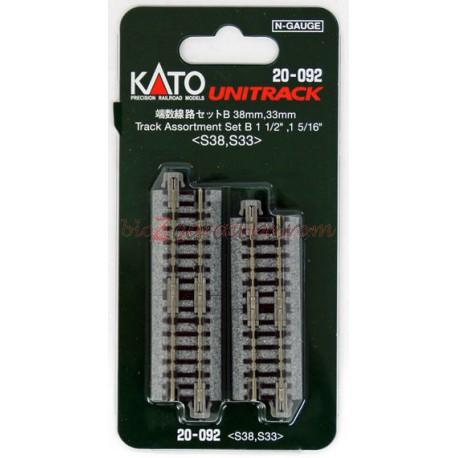 Kato - Cuatro tramos de vía recta de 33 mm y cuatro tramos rectos de 38 mm. Tipo UNITRACK. Escala N. Ref: 20-092.