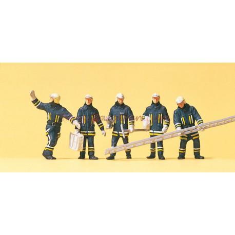 Preiser - Bomberos con útiles y escalera, 5 figuras, Escala H0, Ref: 10484.