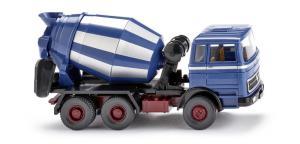 Camion hormigonera MB ( Azul Celeste ), Epoca V, Escala H0. Marca Wiking, Ref: 068206.