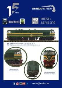 Mabar - Locomotoras Diesel 1900, Serie 319, Con y sin Puerta Frontal, Epoca IV, Escala H0, Ref: 81513 y 81514.