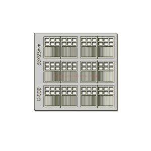 Proses - Conjunto de 6 Puertas dobles de 36 x 23 mm de garaje, Corte Laser, Escala H0, Ref: D-002.