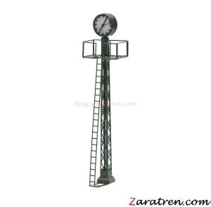 Zaratren - Reloj de Estación con luz en poste de rejilla, Tecnologia LED, Escala N, Ref: ZT-DE2074.