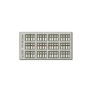 Proses - Conjunto de 12 ventanas de 19 x 14.5 mm, Corte Laser, Escala H0, Ref: W-010.