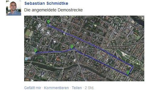 Auf Facebook präsentiert der Berliner NPD-Chef die Route