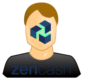 anonymous person cut from shoulders with ZEN logo on the face