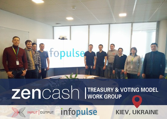 zencash treasury and voting model work group in kiev ukraine with infopulse and iohk