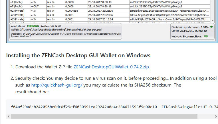 zencash钱包安全节点ZEND软件安装和更新教程截图swing wallet zend software update tutorial in chinese.