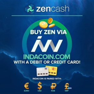 Advert ZenCash and Indacoin