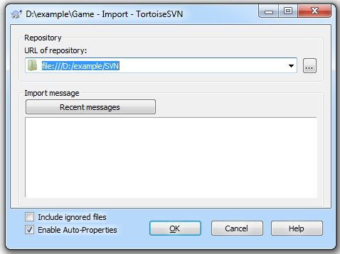 SVN Import Settings