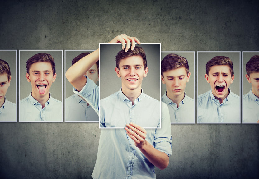 Masked man teenager expressing different emotions