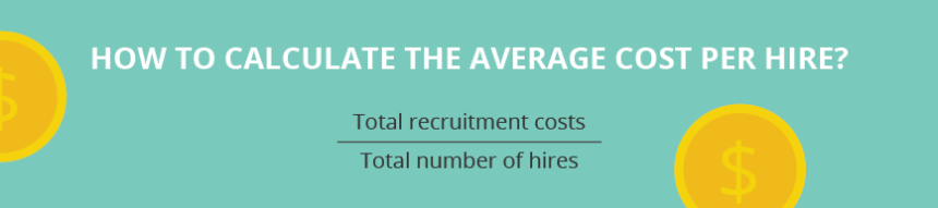 How to calculate the average cost per hire? Total recruitment costs % Total number of hires