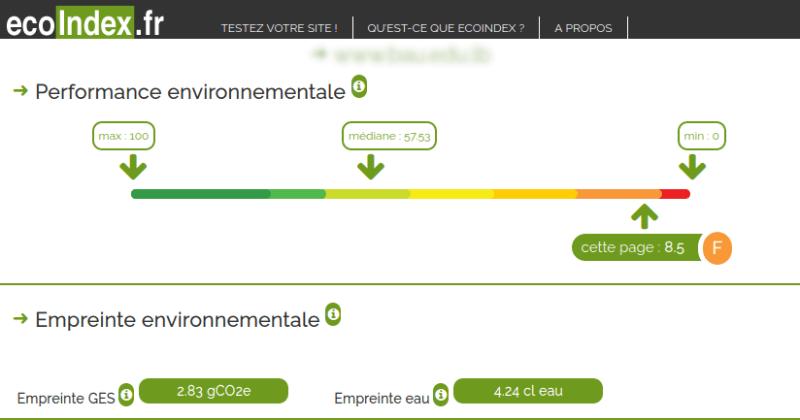 extrait de résultats d'analyse Ecoindex