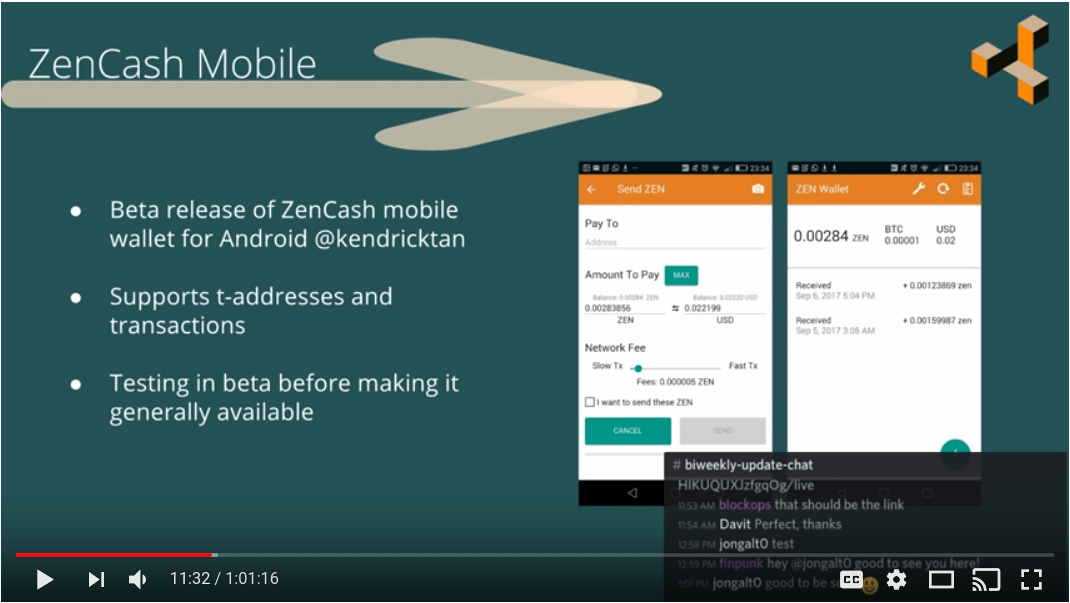 ZenCash Update LiveStream Recording from Sept 13 - 2017