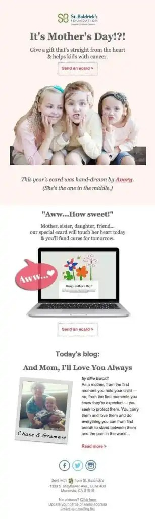 mother's day email example