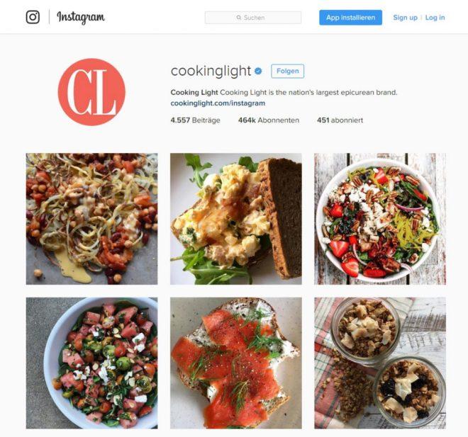 Kochrezepte auf Instagram