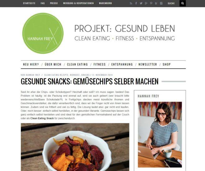 Gemüsechips auf Projekt Gesund Leben