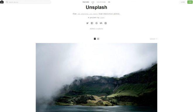 Startseite von Unsplash