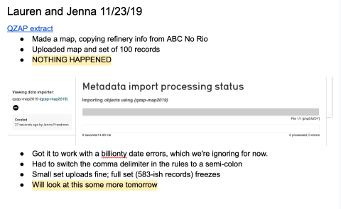 screenshot of Google Docs notes about metadata import processing status being frozen
