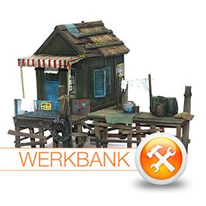 Gebäudebau im Diorama - eine vietnamesische Fischerhütte