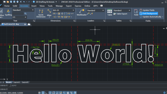 ZWCAD-with-Hello-World
