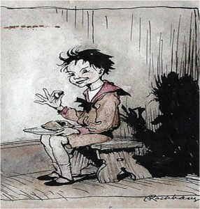 Little Jack Horner sat in a corner...(Illustration by Arthur Rackham)